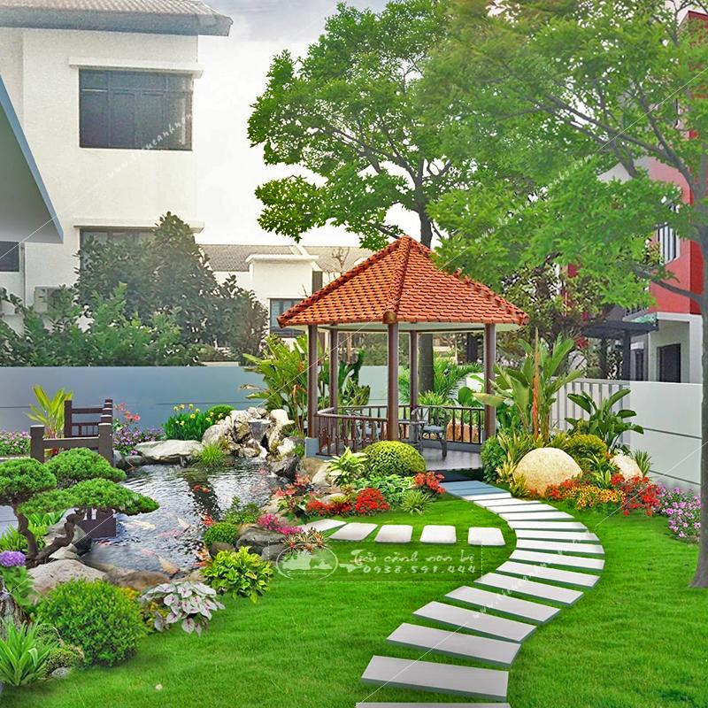5-mau-tieu-canh-san-vuon-nha-pho-dep-khien-moi-nguoi-me-man-2 Tiểu Cảnh Hồ Cá Koi Sân Vườn Biệt Thự