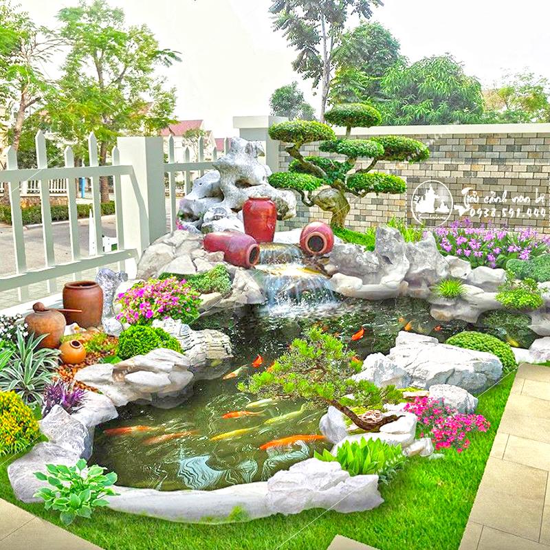 tieu-canh-san-vuon-ho-ca-quan-ca-phe Tiểu Cảnh Sân Vườn Hồ Cá Quán Cà Phê
