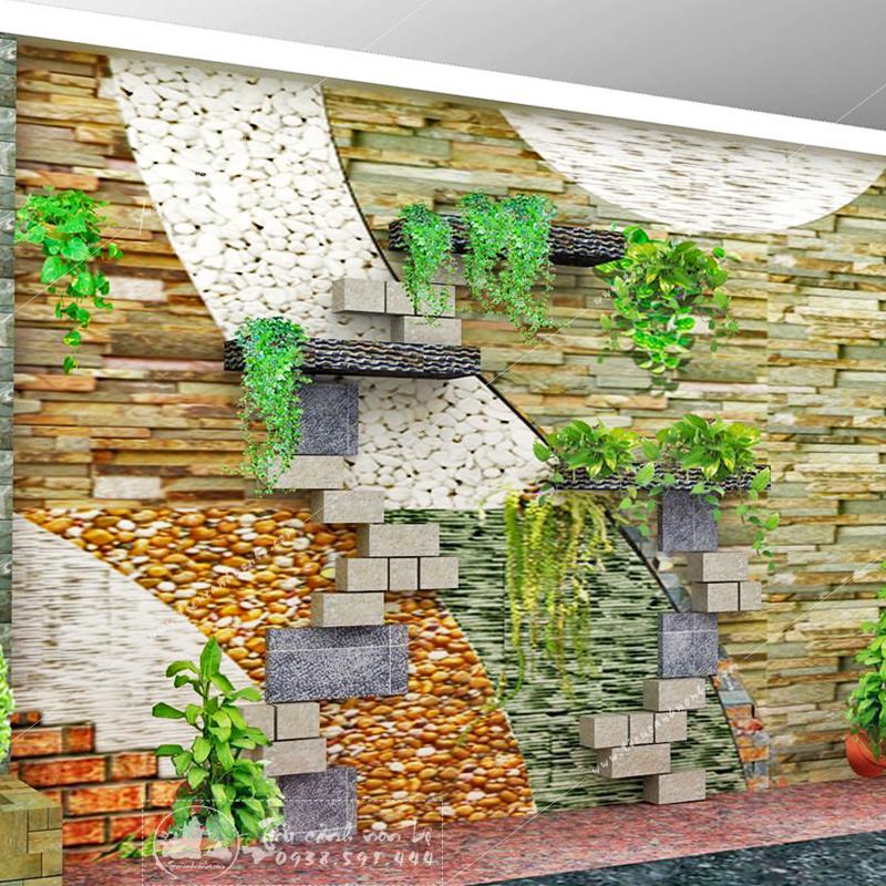 tranh-da-op-tuong-cau-thang-4 Tường Đá Thác Nước Gầm Cầu Thang Nhà Phố